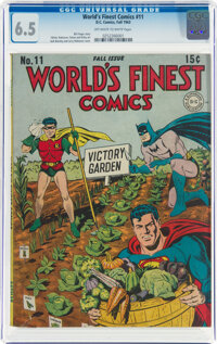 World's Finest Comics #11 (DC, 1943) CGC FN+ 6.5 Off-white to white pages