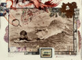 Photographs, Peter Beard (American, 1938-2020). I'll Write Wherever I Can.... Gelatin silver, dye coupler, oil paint and blood with n...