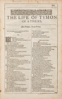 [William Shakespeare]. The Life of Tymon of Athens. [London: R. Allot, 1632]. The co
