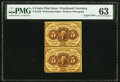 Fractional Currency:First Issue, Fr. 1229 5¢ First Issue Uncut Pair PMG Choice Uncirculated 63.. ...