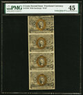 Fractional Currency:Second Issue, Fr. 1233 5¢ Second Issue Vertical Strip of Four PMG Choice Extremely Fine 45.. ...