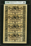 Obsoletes By State:Louisiana, New Orleans, LA- Canal Bank $50-$50-$50-$50 18__ Uncut Sheet PMG About Uncirculated 55, tear. . ...
