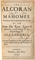 Books:Early Printing, [Qur'an in English]. The Alcoran of Mahomet, translated out of Arabique into French... and newly Englished... Lo...