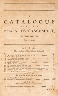The Acts of Assembly, now in Force in the Colony of Virginia. With the titles of such as are expired or