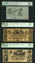 Obsoletes By State:Louisiana, New Orleans, LA- Canal & Banking Co. $50 18__ Remainder PCGS About New 53;. New Orleans, LA- Canal & Banking Co. $10... (Total: 3 notes)
