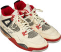 "Basketball Collectibles:Others, 1989 Michael Jordan Game Worn & Signed ""Air Jordan IV"" Sneakers with Charity Auction Provenance...."