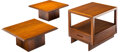 Furniture, Frank Lloyd Wright (American, 1867-1959). Taliesin Nightstand and Pair of Side Tables, circa 1950, Henredon. Mahogany. 1... (Total: 3 Items)