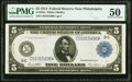 Large Size:Federal Reserve Notes, Fr. 855a $5 1914 Federal Reserve Note PMG About Uncirculated 50.. ...
