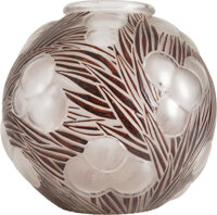R. Lalique Brown Enameled Frosted Glass Oranges Vase, circa 1926 Marks: R. LAL