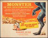 """20 Million Miles to Earth (Columbia, 1957). Rolled, Fine. Half Sheet (22"""" X 28"""") Style B. Science Fiction"""