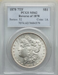 Morgan Dollars, 1878 7TF $1 Reverse of 1878, Open O, Broken R, VAM-186B, MS62 PCGS. PCGS Population: (3027/9997). NGC Census: (2889/10484)....
