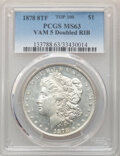 Morgan Dollars, 1878 8TF $1 Doubled RIB, VAM-5, MS63 PCGS. A Top 100 Variety. PCGS Population: (34/14). NGC Census: (13/9). MS63. ...