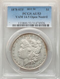 "Morgan Dollars, 1878 8TF $1 Open Nostril, Spiked ""A,"" VAM-14.5, AU53 PCGS. A Hot 50 Variety. PCGS Population: (7/9). NGC Census: (0/6). AU5..."