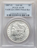 Morgan Dollars, 1887-O $1 Doubled Die Obverse, Pitted Reverse, VAM-22A, AU58 PCGS. A Top 100 Variety. PCGS Population: (13/40). NGC Census:...