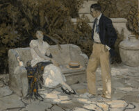 American Artist (20th Century) Conversations in the Garden Oil on canvas 27 x 34 inches (68.6 x 8