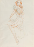 Paintings, Alberto Vargas (Peruvian/American, 1896-1982). Esquire gatefold pinup study, January 1946. Watercolor and pencil on pape...