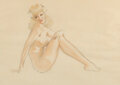 Paintings, Alberto Vargas (Peruvian/American, 1896-1982). Vacation Reverie, Varga Girl study. Mixed media on vellum. 25-1/2 x 19-1/...