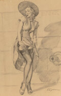 Works on Paper, Gil Elvgren (American, 1914-1980). Silk Stockings. Charcoal on vellum. 24 x 17-3/4 inches (61 x 45.1 cm). Signed lower r...