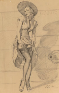 Gil Elvgren (American, 1914-1980) Silk Stockings Charcoal on vellum 24 x 17-3/4 inches (61 x 45.1