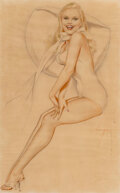 Works on Paper, Alberto Vargas (Peruvian/American, 1896-1982). Esquire playing card study, 1945. Pencil and watercolor on vellum. 20 x 1...