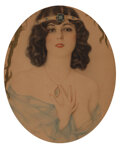 Paintings, Alberto Vargas (Peruvian/American, 1896-1982). Lady with Necklace. Watercolor on board. 20 x 15 inches (50.8 x 38.1 cm)...