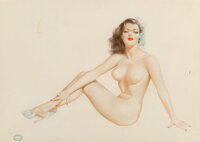 Alberto Vargas (Peruvian/American, 1896-1982) Nude in Shoes with Flowers in Hair Watercolor and penc
