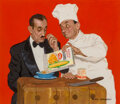 Paintings, Richard Sargent (American, 1911-1978). Chef Serving Maitre'd, Post Cornflakes advertisement, 1958. Gouache on board...