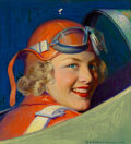Paintings, Robert C. Kauffmann (American, 1900-1999). Women Pilot. Oil on canvas. 20 x 17 inches (50.8 x 43.2 cm). Signed lower rig...