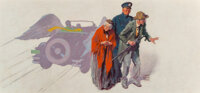 William Meade Prince (American, 1893-1951) Winged Sports Car, 1926 Oil on Canvas 18 x 38 inches