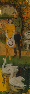 Paintings, Harold von Schmidt (American, 1893-1982). Couple by the Pond, 1940. Oil on canvas. 36 x 12 inches (91.4 x 30.5 cm). Sign...