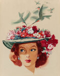 Paintings, Jon Whitcomb (American, 1906-1988). Flower Hat, Collier's magazine cover, June 15, 1946. Gouache on board . 14-7/8 x 11-... (Total: 2 Items)