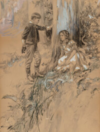 Harrison Fisher (American, 1875-1934) Boy and Girl, 1908 Graphite and gouache on board 19-1/2 x 1