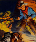 Paintings, Robert G. Harris (American, 1911-2007). Gold Plated Six Guns, Wild West Weekly magazine cover, October 24, 1936. Oil on ...