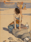 Paintings, William Heath Robinson (British, 1872-1944). Stories from the Odyssey book cover, 1910. Watercolor on board . 9-7/8 x 7-...