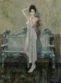 Robert McGinnis (American, 1926) Rose Garland, 2000 Mixed media on board 19-1/2 x 15-5/8 inches (