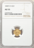 Gold Dollars, 1849-O G$1 Open Wreath AU55 NGC. NGC Census: (110/540). PCGS Population: (82/260). CDN: $470 Whsle. Bid for NGC/PCGS AU55. ...