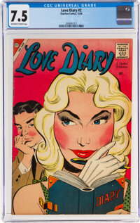 Love Diary #2 (Charlton, 1958) CGC VF- 7.5 Off-white to white pages