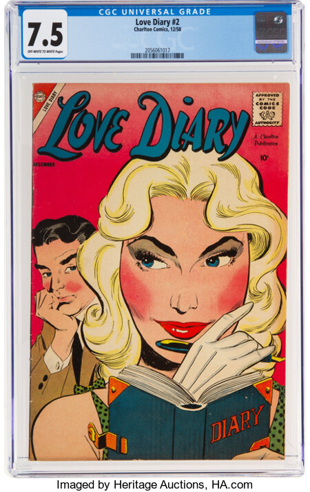 Love Diary #2 (Charlton, 1958) CGC VF- 7.5 Off-white to white pages....