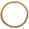 Estate Jewelry:Necklaces, Turquoise, Diamond, Gold Necklace. ...