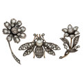 Estate Jewelry:Brooches - Pins, Diamond, Freshwater Cultured Pearl, Silver-Topped Gold Brooches. ... (Total: 3 Items)