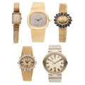 Estate Jewelry:Watches, Diamond, Synthetic Sapphire, Enamel, Gold, Stainless Steel Watches - Benat, Cartier, Corum, Lucien Piccard. ... (To...