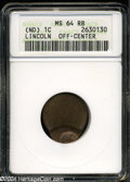 Errors: , Undated Lincoln Wheat Cent--Off Center--MS64 Red and Brown ...