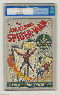 The Amazing Spider-Man #1 (Marvel, 1963) CGC FN- 5.5 Cream to off-white pages. Unrestored copy of this historic first is...