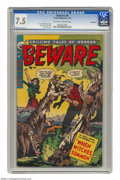 Golden Age (1938-1955):Horror, Beware #8 Bethlehem pedigree (Trojan/Prime, 1954) CGC VF- 7.5Off-white to white pages. A. C. Hollingsworth cover art. Myron...