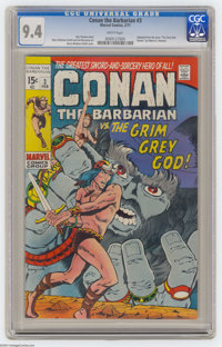 """Conan the Barbarian #3 (Marvel, 1971) CGC NM 9.4 White pages. Adapted from the story """"The Grey God Passes"""" by..."""