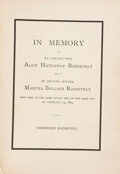 Books:Americana & American History, Theodore Roosevelt. In Memory of My Darling Wife Alice Hathaway Roosevelt and of My Beloved Mother Martha Bulloch Roosev...