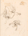 Original Comic Art:Illustrations, Arthur Rackham The Zankiwank and the Bletcher Witch Page 79 Preliminary Sketch Original Art (Alpine House EC ,1896)....