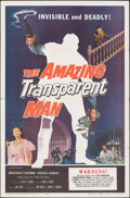 """Movie Posters:Science Fiction, The Amazing Transparent Man (Miller-Consolidated Pictures, 1959). Folded, Very Fine. One Sheet (27"""" X 41""""). Science Fiction...."""