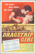 "Movie Posters:Bad Girl, Dragstrip Girl (American International, 1957). Flat Folded, Very Fine+. One Sheet (27"" X 41""). Bad Girl.. ..."