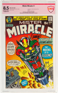Mister Miracle #1 Verified Signatures: Jack Kirby, Jim Steranko, and Mike Royer (DC, 1971) CBCS VF+ 8.5 Off-white to whi...